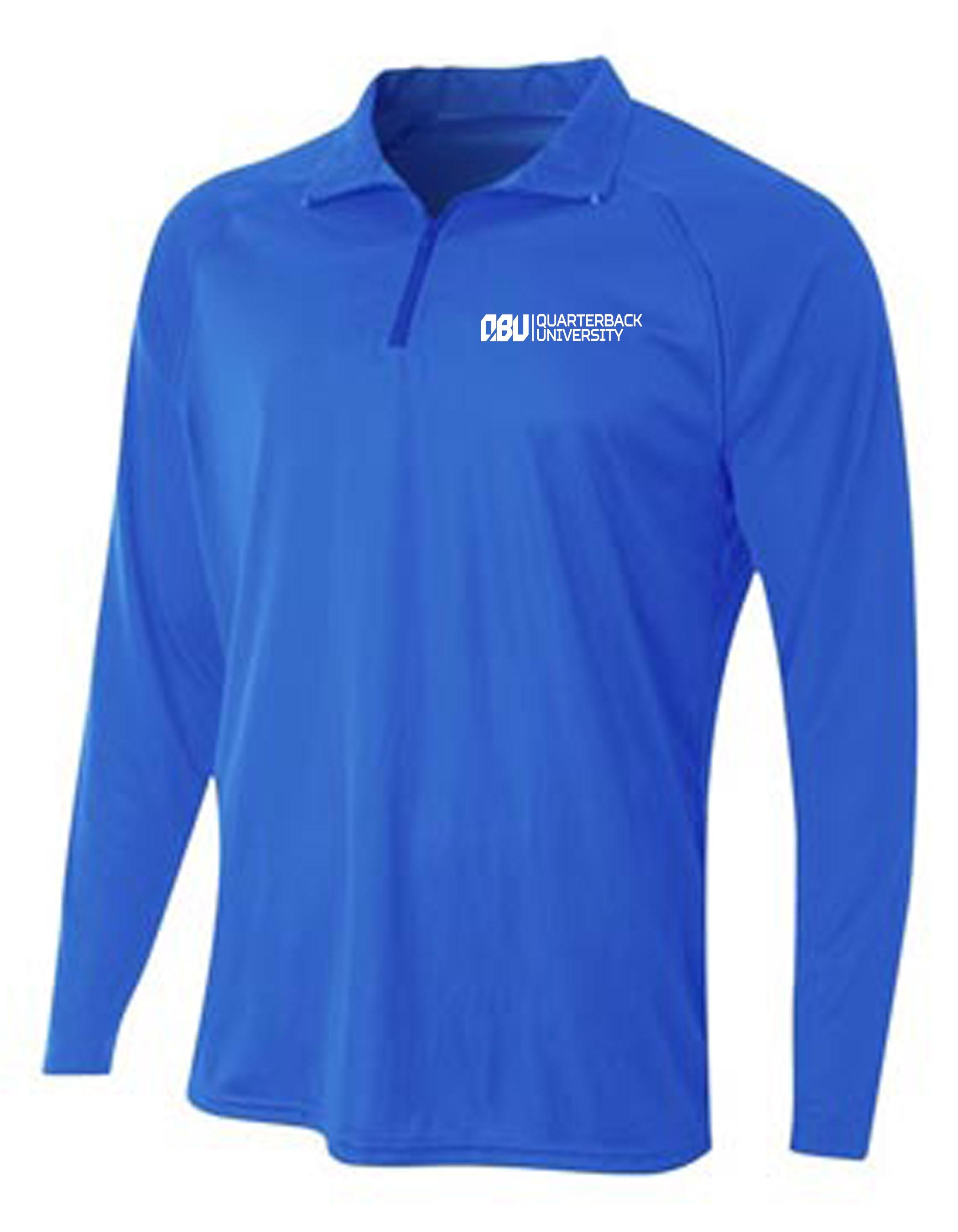 Quarterback University Quarter Zip Pullover Royal Blue